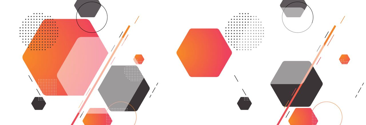 Blog banner hexagonal shapes and a white background
