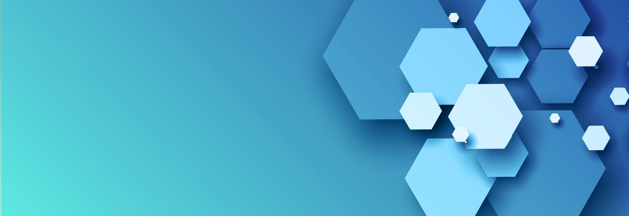 Blog banner blue background with hexagonal shapes