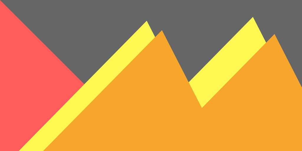 blog banner with yellow and red triangles