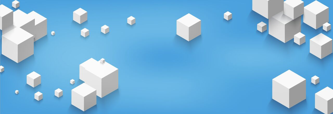 blog banner with a blue background and several white cubes