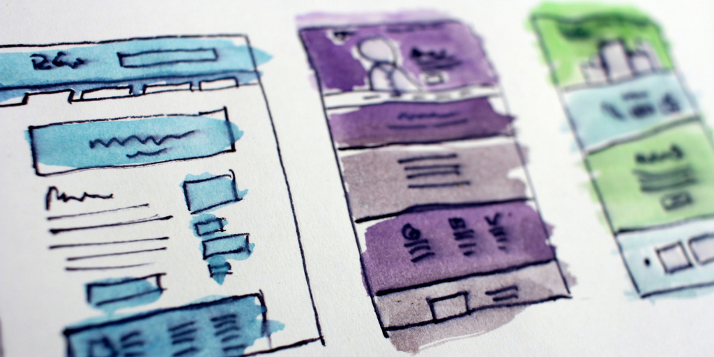 blog image with sketch of three website in blue, purple and green