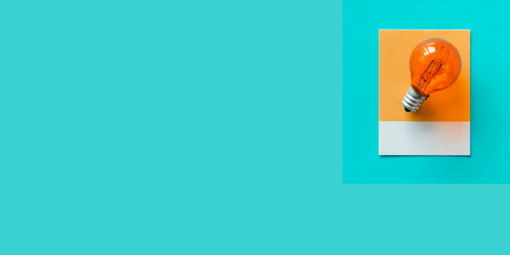 sea green blog banner with orange bulb on right
