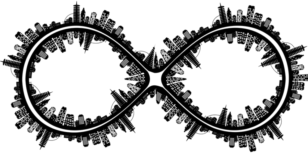 Image of an infinity sign that has structure of different buildings