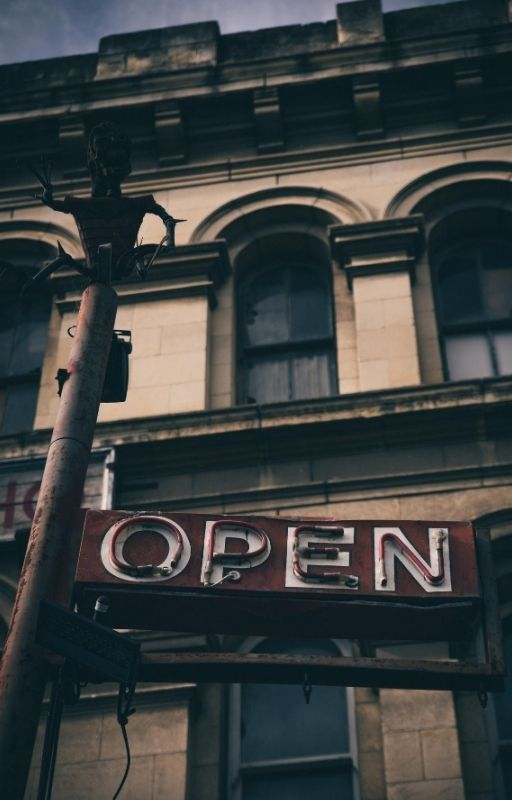 'Open' written on a billboard
