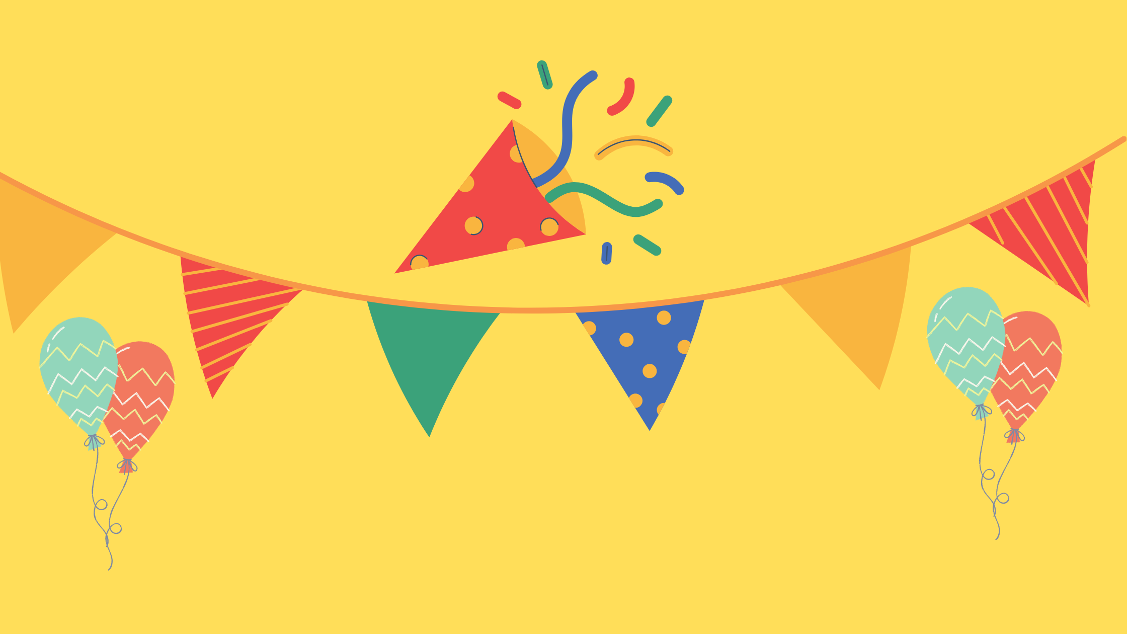 yellow background with blue, green and red festoon and balloons