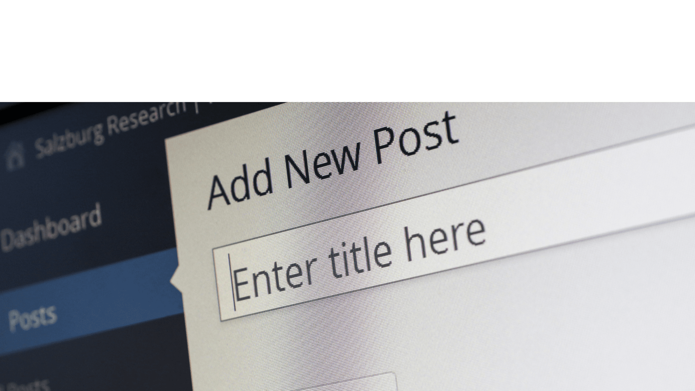 picture of computer screen reading 'add new post'