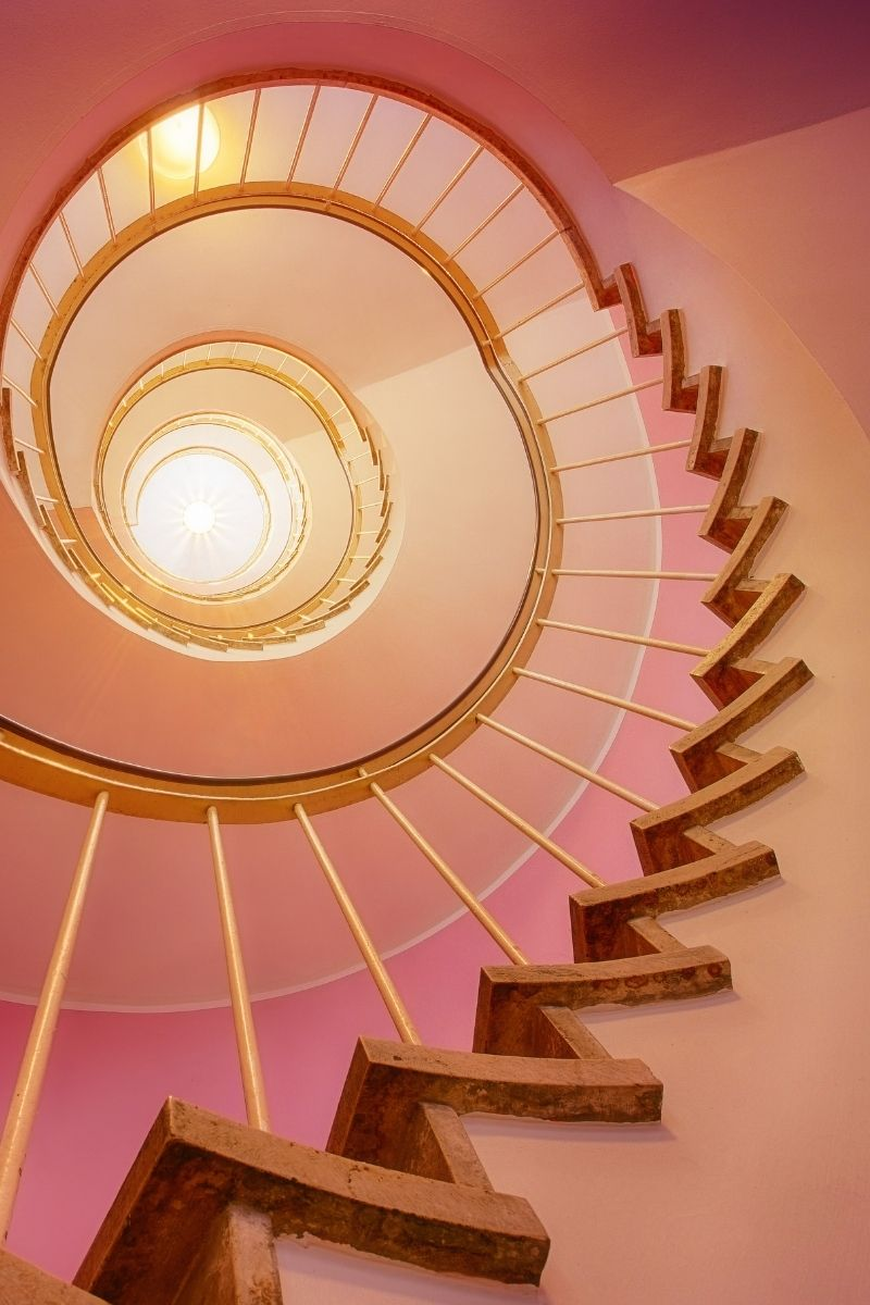 A round staircase can be seen.