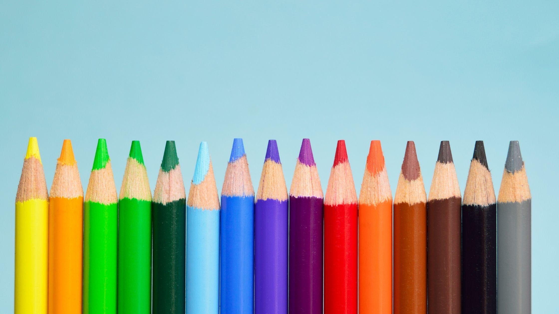row of colourful pencils