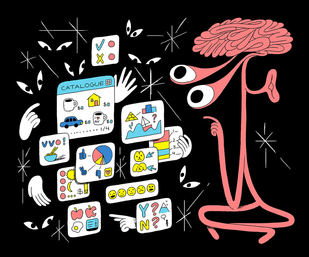 Illustration showing a human brain with eyes on right and several small white boxes consisting of small icons representing house, car, cup, bowl, emoticon, piechart on left