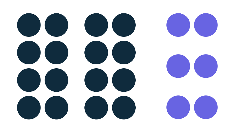 Image showing twelve navy blue dots and six sky blue dots