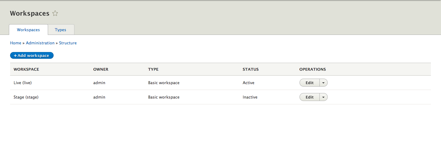 Admin interface of workspace with different owner, type, and status