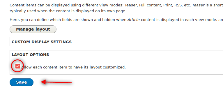 Check box for layout option while configuring layout builder drupal module