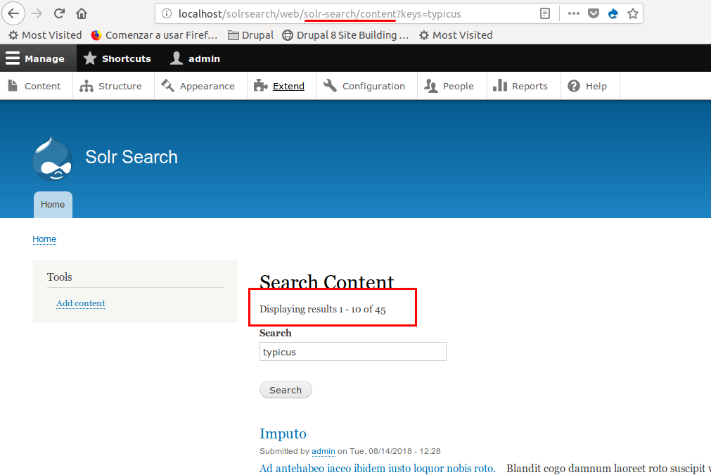 Interface of Drupal's Search API Solr Search module showing search box at the centre and search results below it.
