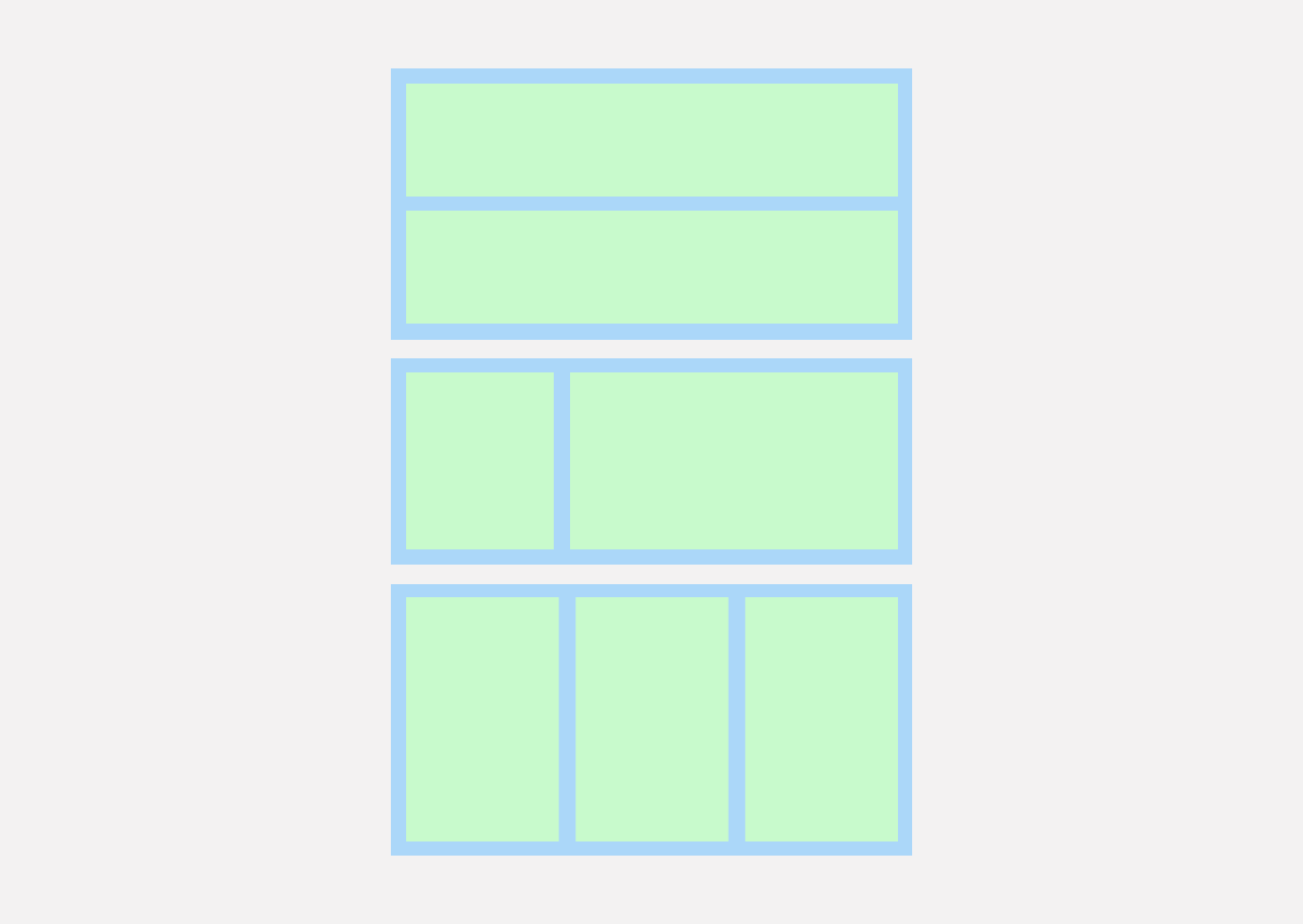 The layout of a grid-like structure in web design is shown in pastel colours.