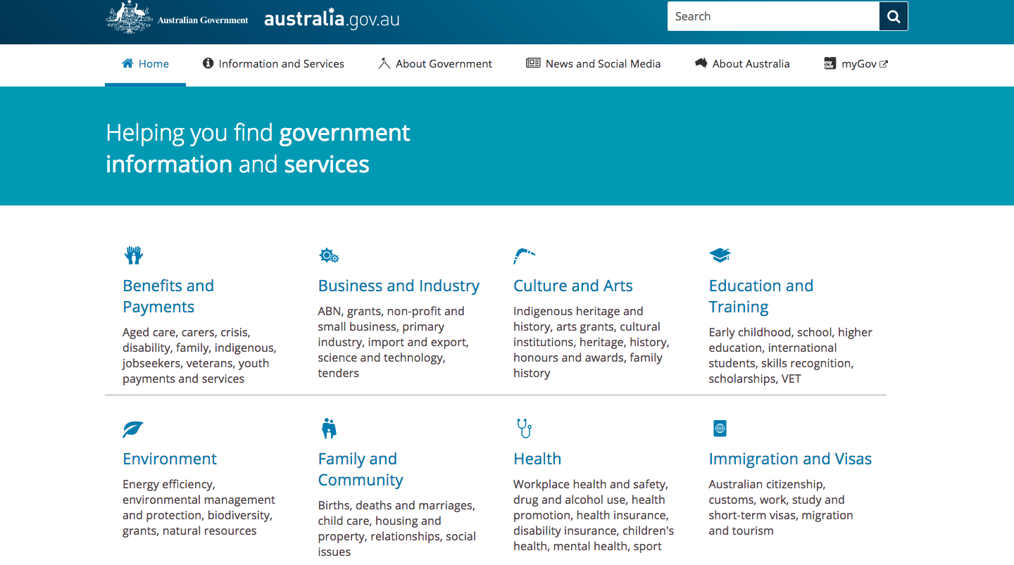 Australia government homepage.