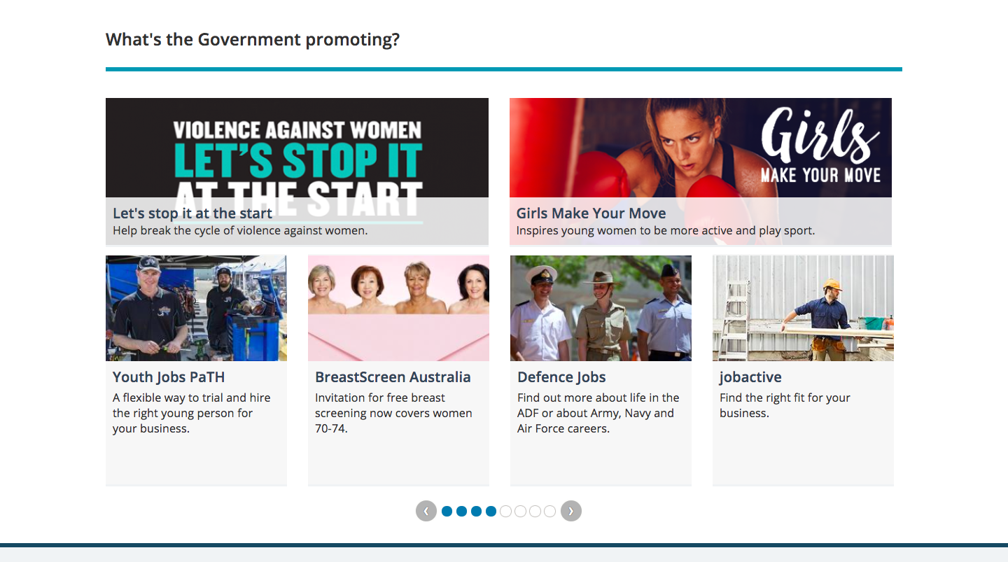 Australia gov home page with Government's promotion plan