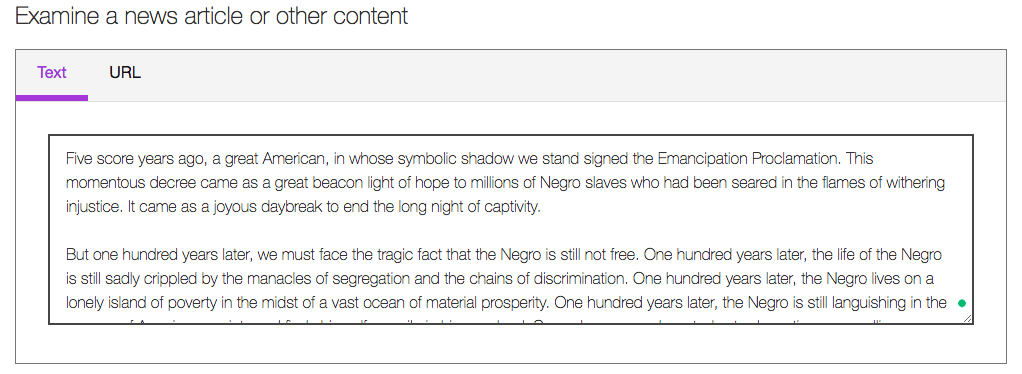 Descriptive image of Sentiment analysis by IBM Watson; Martin Luther King Jr popular speech entered in the text