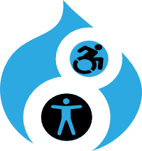 Image of the blue Drupal drop which has stick images of a person on a wheelchair and a person spreading its arms