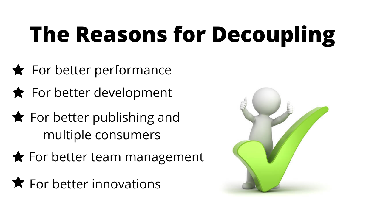A green check is on the right, with the left side covering the reasons for choosing decoupled Drupal.