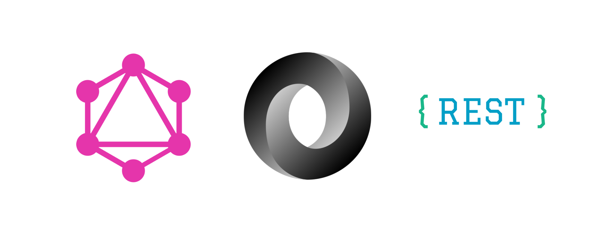 The logos of GraphQL, JSON and REST are displayed horizontally.