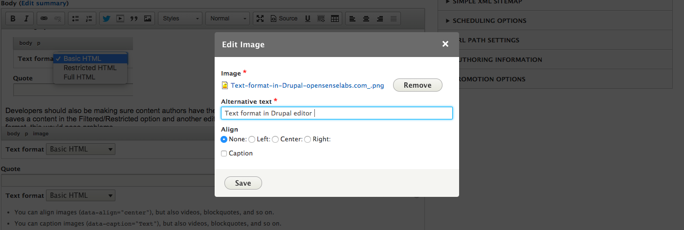 Adding image in Drupal editor