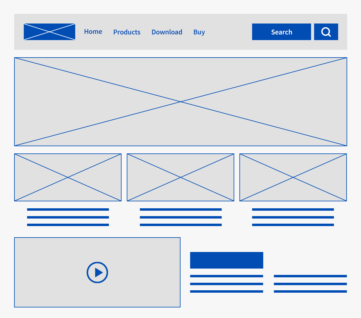 Wireframe of a webpage