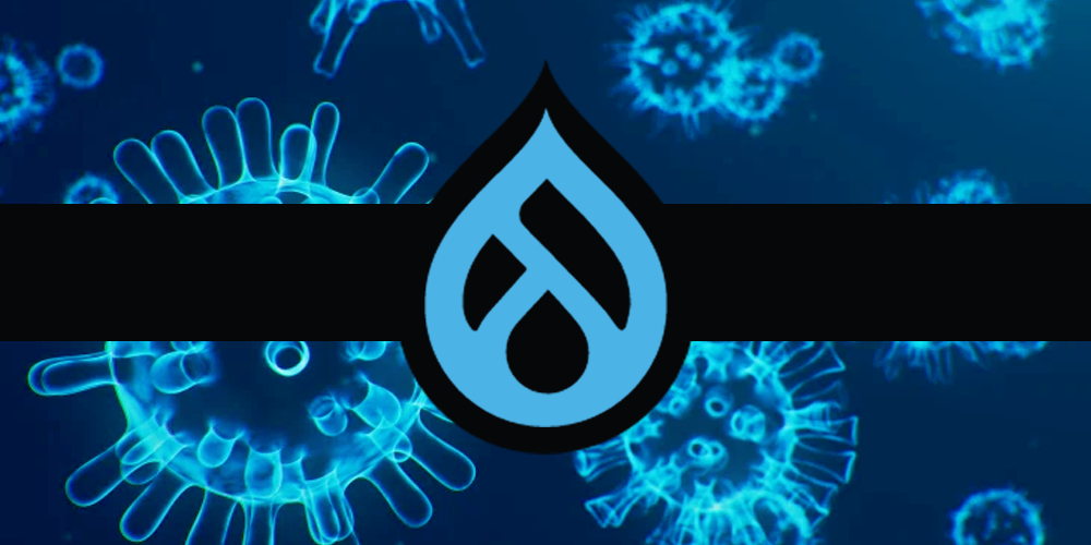 Black background with Drupal 9 icon
