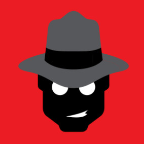A picture of a head of a man which is black in color who is wearing a grey hat which is on red background