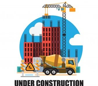 An image of a building that is under construction where a crane is uplifting metal rods and a bulldozer is situated at the right side with a construction sign of left.