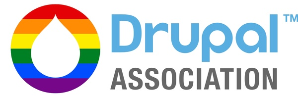 Drupal logo, resembling a droplet, in Rainbow colour on left and 'Drupal Association' written on left