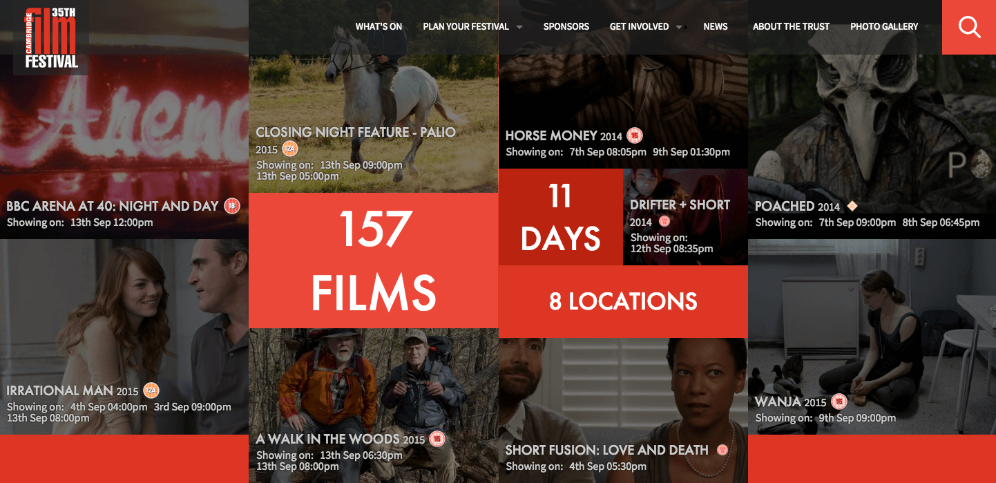 Screenshot of the homepage of Cambridge film festival