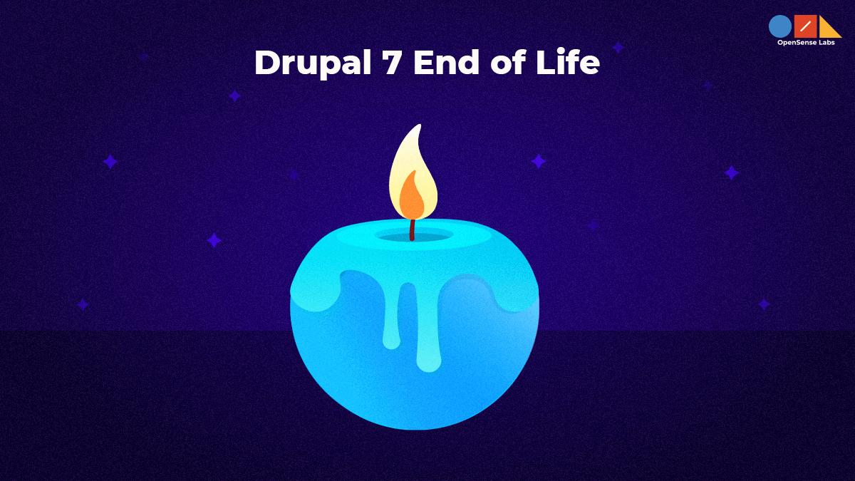 Illustration diagram describing the end of life of Drupal 7
