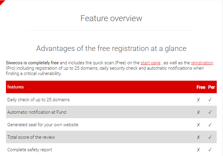 Screenshot of the homepage of SIWECOS website which shows the features of the security maintained in a table