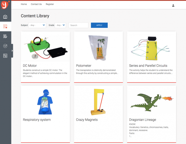 illustration image showing a content librarry for yardstick lms in different blocks form with images pasted and menu items on the left hand side