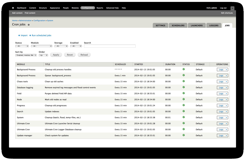 Screenshot of Cron listing in Drupal