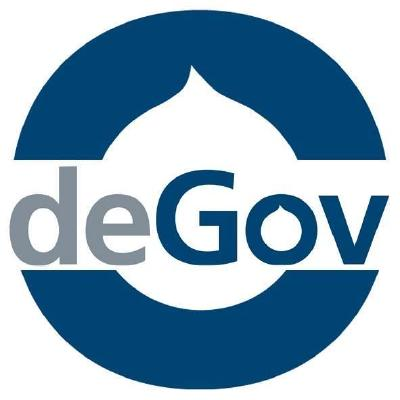 Image of the logo of Degov in form of a circle where the text is DeGov in the middle