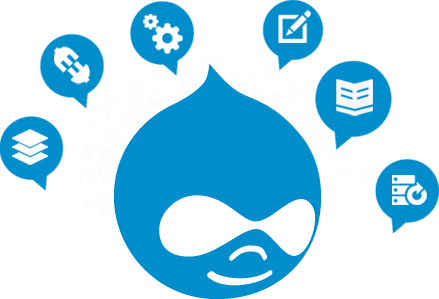 Image of the Drupal logo in between with six sub-pictures of its features around it