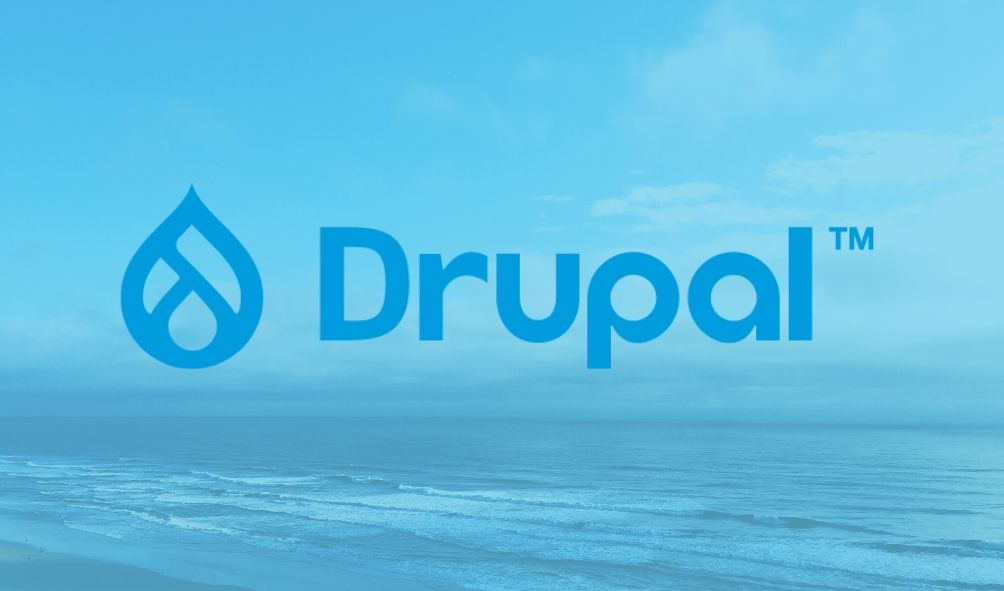 Drupal 9 logo with Drupal TM written in the centre, drop-like icon and a bluish background