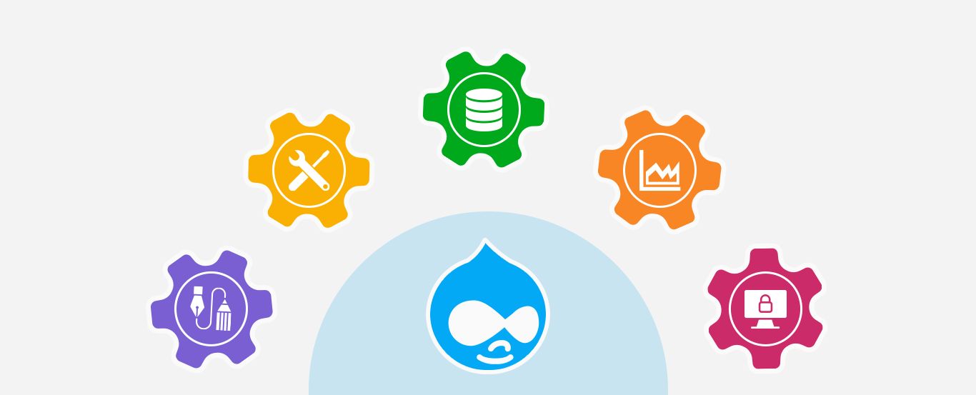 illustration image showing blur drupal icon and and multi colour icons on white background