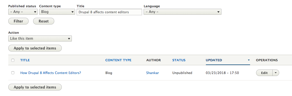 Drupal administration interface showing the content state as unpublished