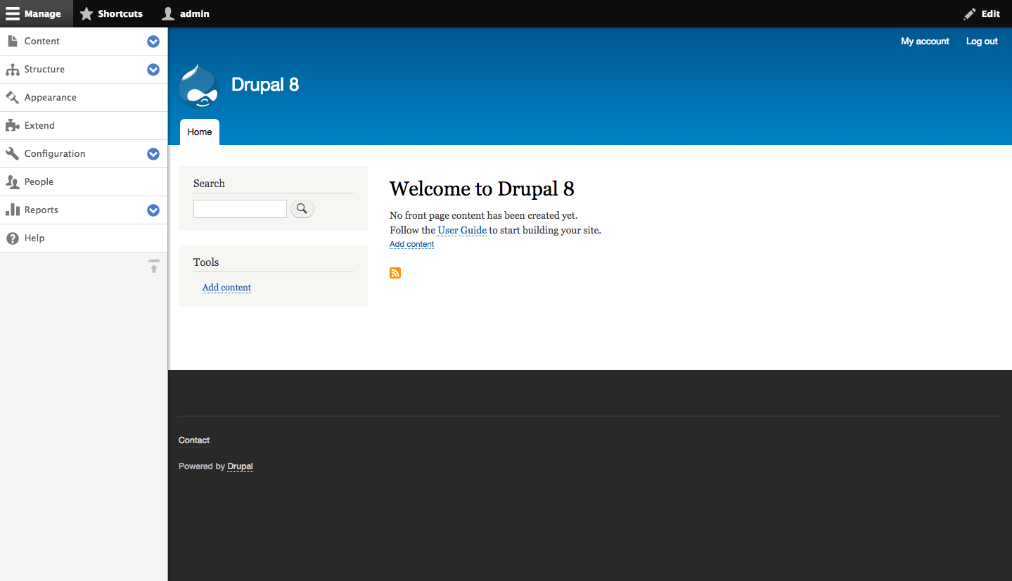 Welcome message in Drupal