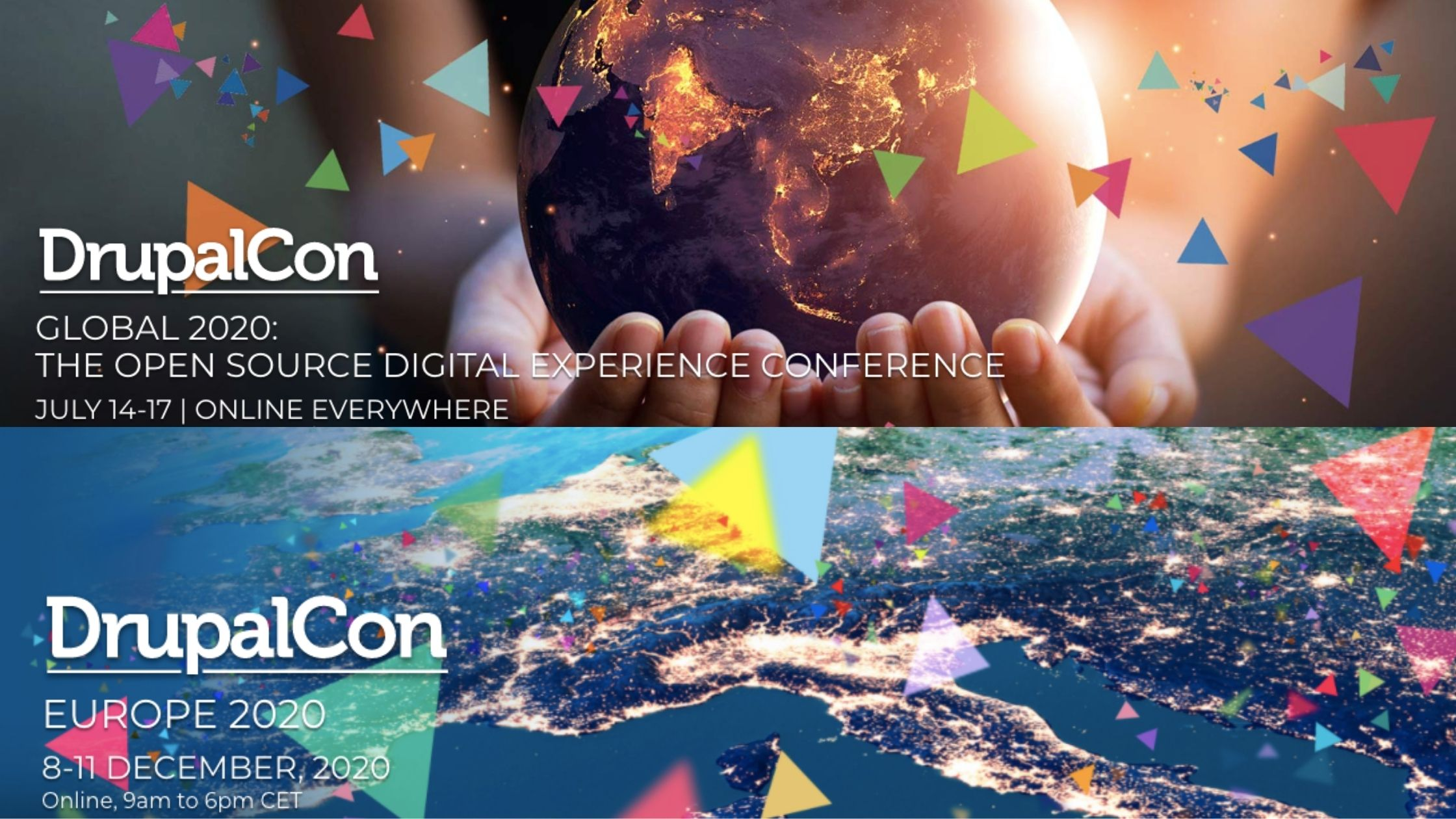 Collage of Screenshots from Drupal 2020 international events like DrupalCon Global 2020 and DrupalCon Europe 2020 homepages with an image of earth on top and buildings at bottom