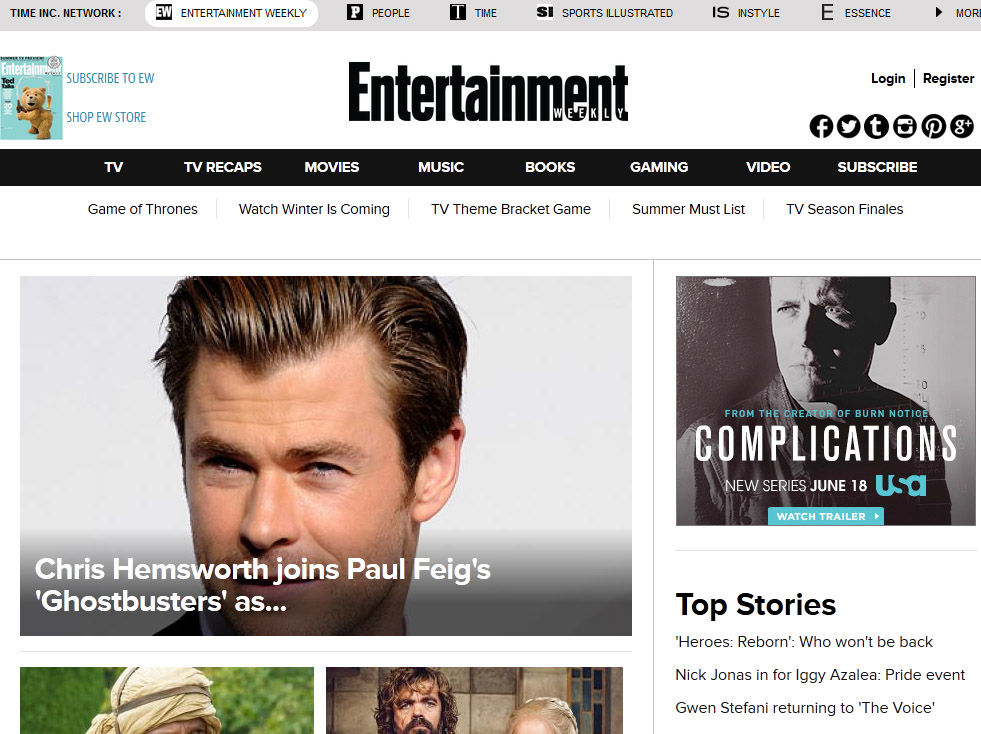 A screenshot of entertainment weekly website