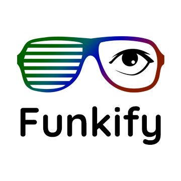 Image of a glasses where the left part has green and blue horizontal lines on it and the right side has an eye. The text below says funkify
