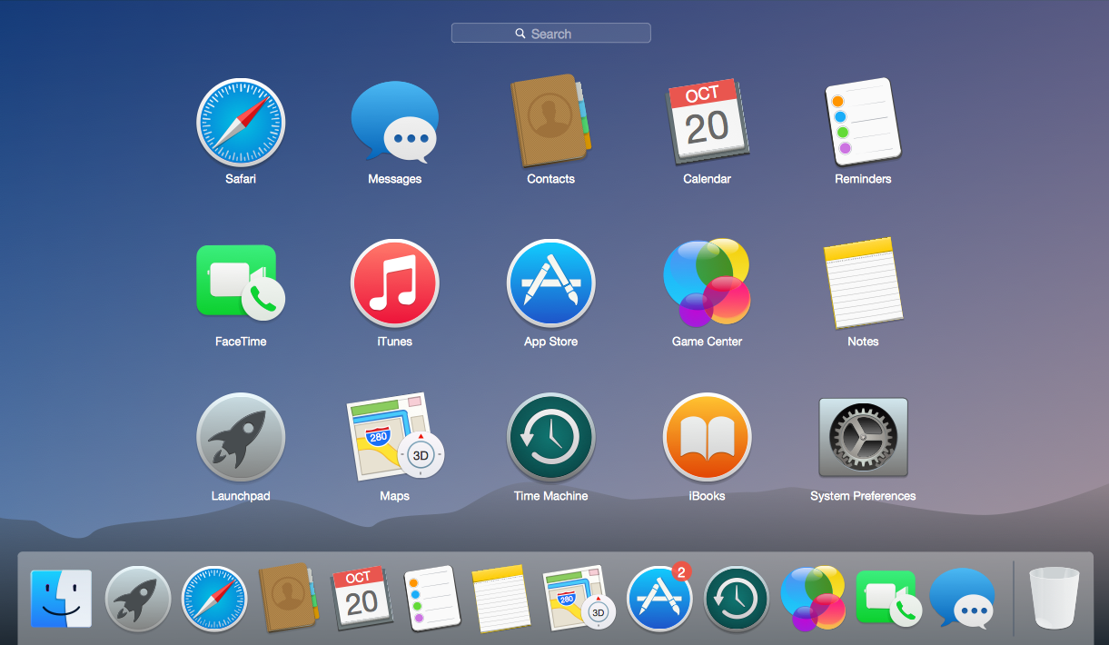 A screenshot of the home display of a laptop with various application icons onit