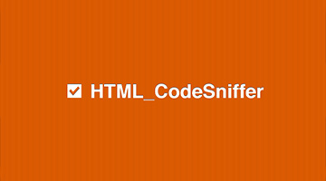 Image with an orange background that says HTML code-sniffer as text