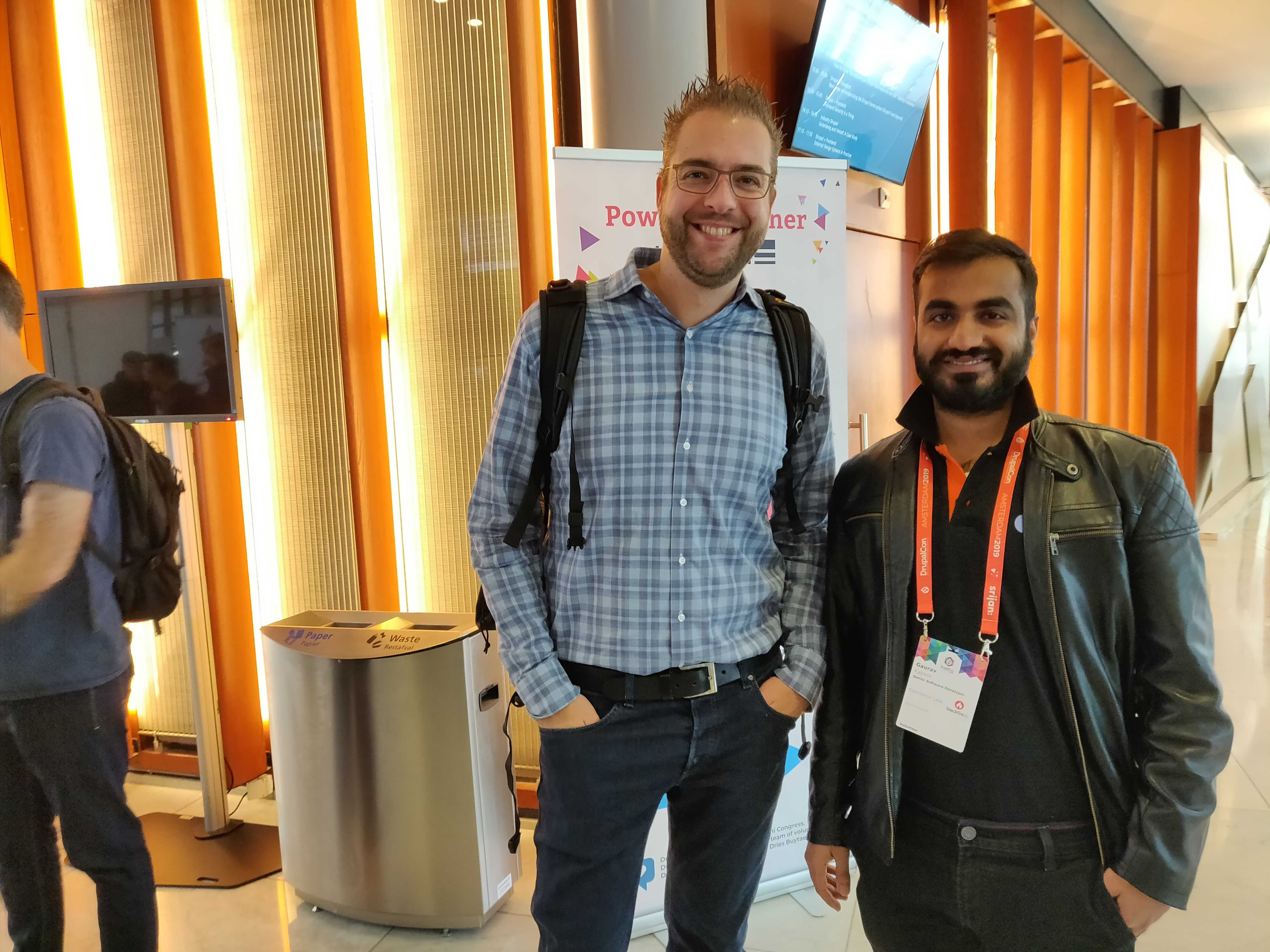 Gaurav with Dries at DrupalCon Amsterdam
