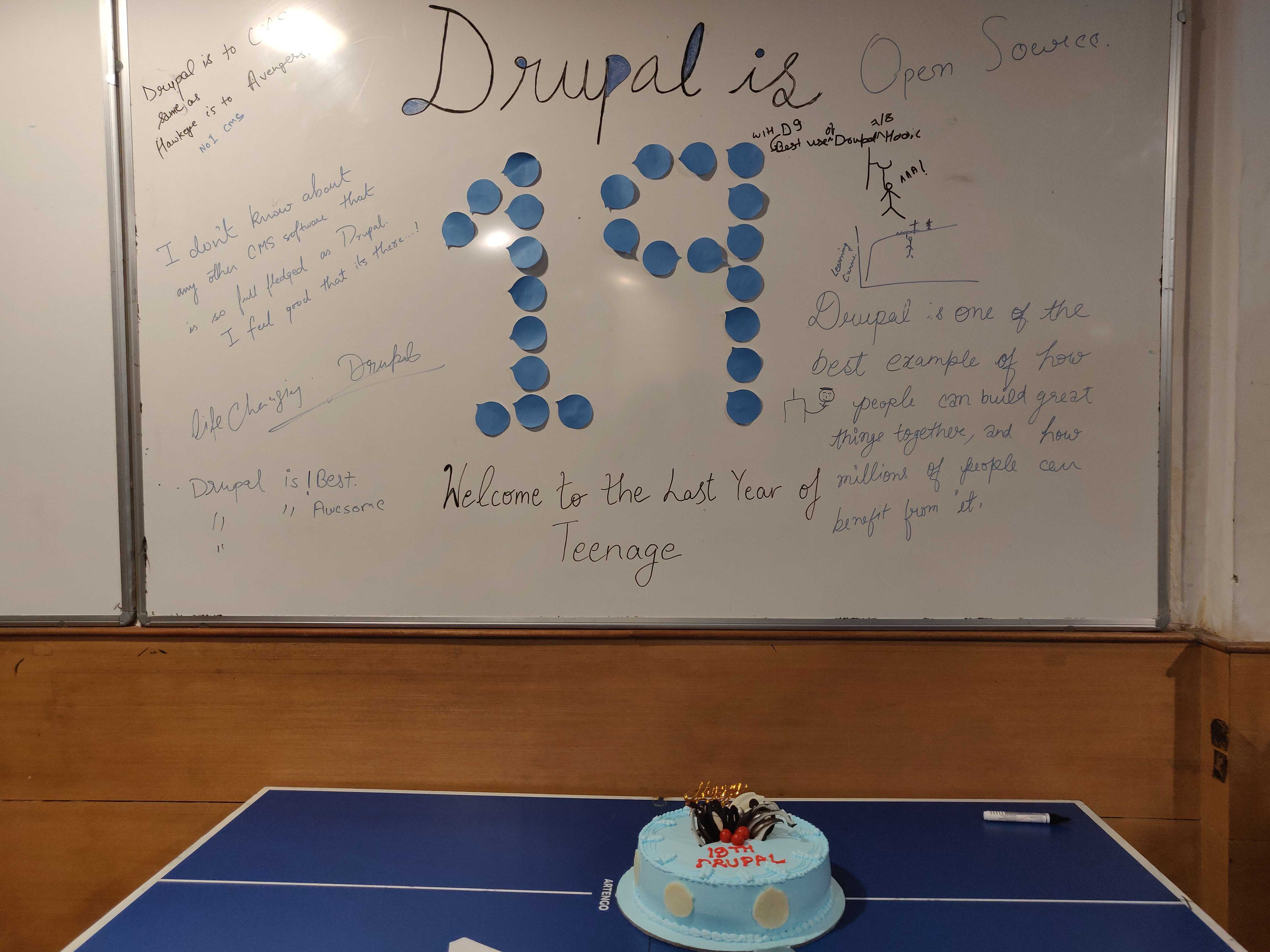 A whiteboard with scribbles of Drupal appreciation and number 19 written at the centre and a blue cake below