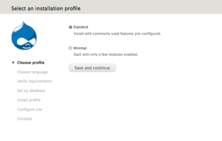 Drupal installation profile; choosing the installation profile as 'standard'