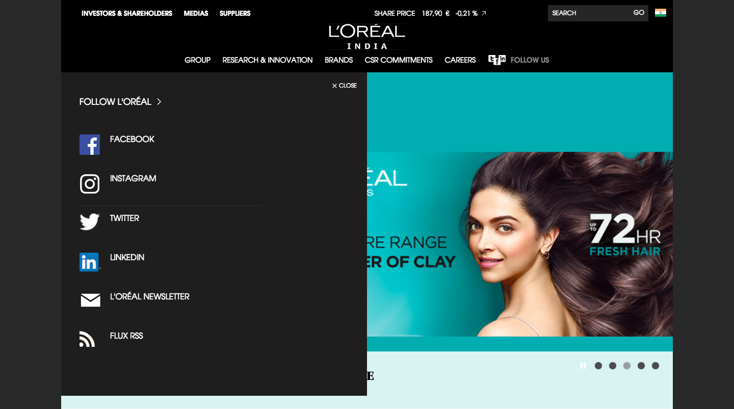 Social media share options in L'oreal India website